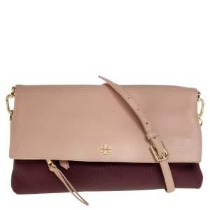 Tory Burch Bordeaux/Peach Grained Leather Fold Over Clutch Bag