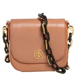 Tory Burch Beige Leather Flap Chunky Chain Crossbody Bag