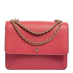 Tory Burch Pink Saffiano Leather Robinson Shoulder Bag