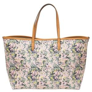 Tory Burch Multicolor Coated Canvas and Leather Kerrington Square Tote