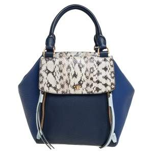 Tory Burch Two Tone Blue Leather and Python Half Moon Satchel