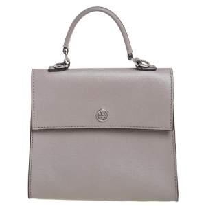 Tory Burch Grey Leather Small Parker Top Handle Bag