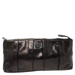 Tory Burch Black Python Embossed Leather Clutch