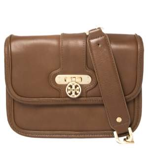 Tory Burch Brown Leather Daria Crossbody Bag