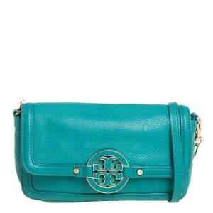 Tory Burch Turquoise Leather Amanda Crossbody Bag
