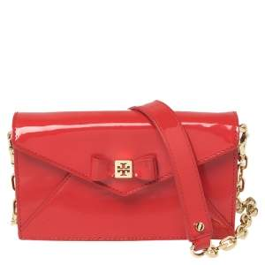 Tory Burch Red Patent Leather Bow Wallet On Chain
