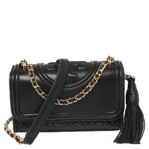 Tory Burch Black Quilted Leather Micro Fleming Crossbody Bag