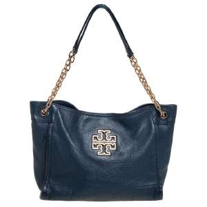 Tory Burch Blue Leather Small Britten Slouchy Tote