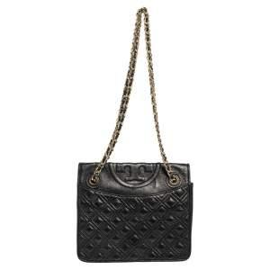Tory Burch Black Leather Medium Fleming Shoulder Bag