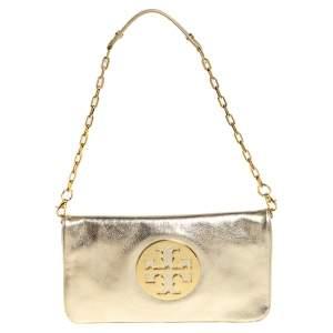 Tory Burch Metallic Gold Leather Reva Chain Clutch