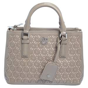 Tory Burch Beige Perforated Leather Robinson Tote