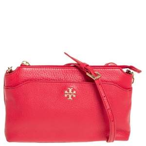 Tory Burch Red Leather Mercer Crossbody Bag