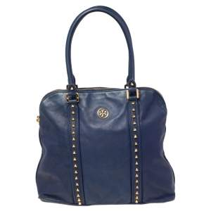 Tory Burch Navy Blue Leather Pyramid Stud Dome Satchel
