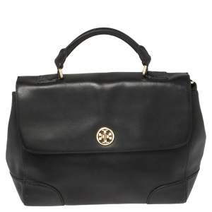 Toy Burch Black Leather Robinson Flap Top Handle Bag