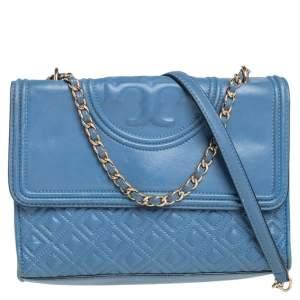 حقيبة كتف توري برش فليمينغ جلد أزرق