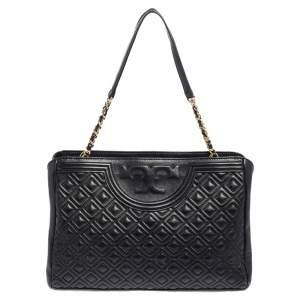 Tory Burch Black Leather Fleming Open Shoulder Bag
