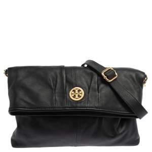 Tory Burch Black Leather Fold Over Messenger  Bag