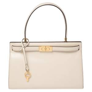 Tory Burch Cream Leather Small Lee Radziwill Top Handle Bag