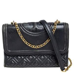 Tory Burch Black Leather Small Fleming Shoulder Bag