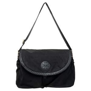 Tory Burch Black Nylon and Leather Messenger Bag