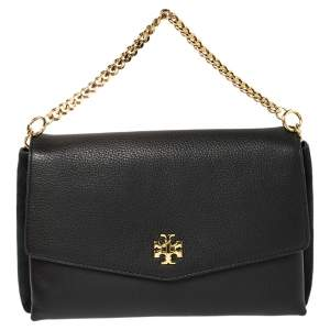 Tory Burch Black Leather and Suede Kira Shoulder Bag