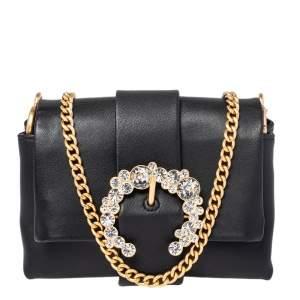 حقيبة كروس توري برش ميني غرير جلد أسود صغيرة بسلسلة
