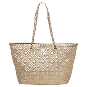 Tory Burch Gold Quilted Leather Marion Tote