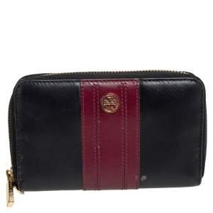 Tory Burch Black/Burgundy Saffiano Leather Zip Around Wallet
