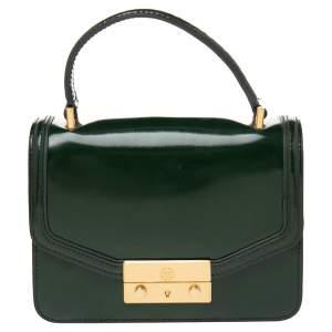 Tory Burch Green Leather Mini Juliette Top Handle Bag