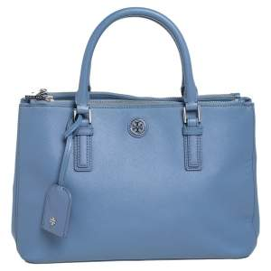 Tory Burch Stone Blue Leather Robinson Double Zip Tote