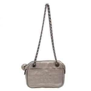 Tory Burch Metallic Silver Leather Thea Chain Shoulder Bag