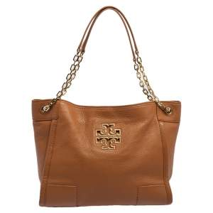 Tory Burch Tan Leather Small Britten Slouchy Tote