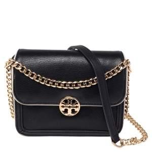 Tory Burch Black/White Leather Mini Chelsea Crossbody Bag