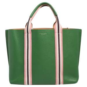 Tory Burch Green Leather Perry Multi-Stripe Triple Compartment Tote