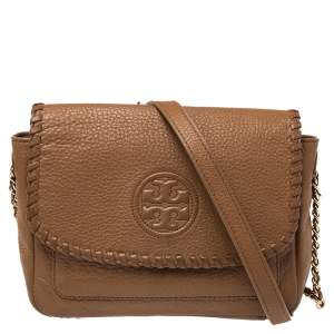 Tory Burch Tan Leather Mini Marion Crossbody Bag