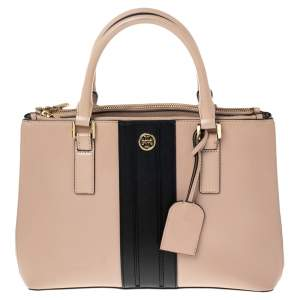 Tory Burch Beige/Black Leather Robinson Double Zip Tote