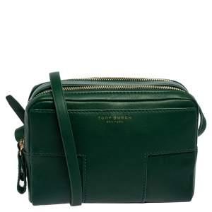 حقيبة كروس توري برش سحاب مزدوج حرف تي مزدوج بلوك جلد أخضر