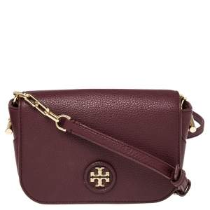 Tory Burch Burgundy Leather Mini Whipstitch Logo Flap Crossbody Bag