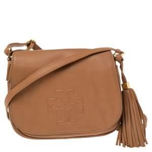 Tory Burch Tan Leather Thea Flap Crossbody Bag