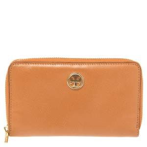 Tory Burch Tan Leather Robinson Zip Around Wallet