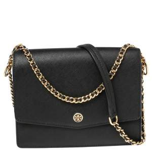 Tory Burch Black Leather Robinson Convertible Shoulder Bag