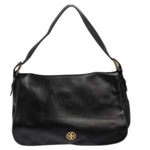 Tory Burch Black Leather Flap Shoulder Bag