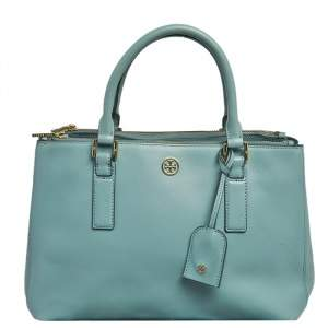 Tory Burch Light Blue Saffiano Leather Robinson Double Zip Tote