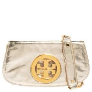 Tory Burch Metallic Gold Leather Reva Logo Crossbody Bag
