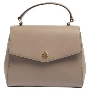 Tory Burch Taupe Leather Robinson Small Top Handle Bag