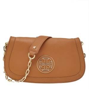Tory Burch Brown Leather Britten Shoulder Bag