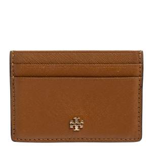 Tory Burch Brown Leather Robinson Card Holder