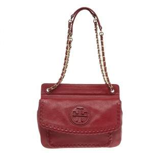 Tory Burch Red Leather Marion Shoulder Bag
