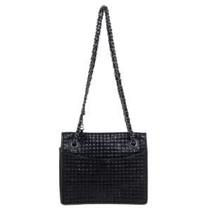 حقيبة كتف توري برش جلد وسويدي مبطن أسود ميتاليك ذات سلسلة