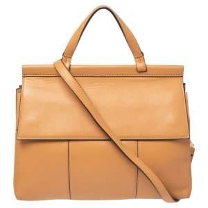 Tory Burch Beige Leather Block-T Top Handle Bag
